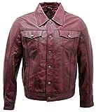 Infinity Camisa de Cuero de la Chaqueta de los Vaqueros de la Camisa de Borgoña de los Hombres 5XL