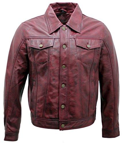 Camisa de Cuero de la Chaqueta de los Vaqueros de la Camisa de Borgoña de los Hombres M