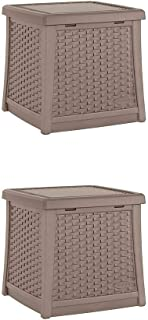 Suncast Elements Square Resin Patio Backyard End Table, Dark Taupe (2 Pack)