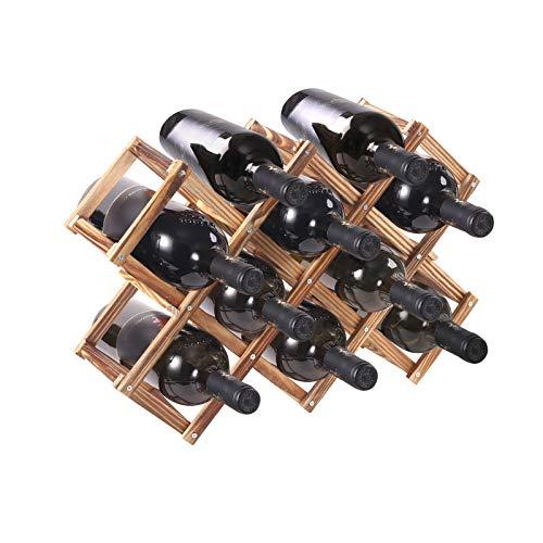 PENGKE Wood Wine Rack Freestanding Wine Rack,10 Bottles Countertop Free Stand Wine Storage Holder Protector for Red White Wine