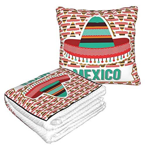KIMDFACE Manta de Viaje súper Suave,México Diseño Cultural Étnico Sombrero Traje Elementos Tradicionales,Manta Plegable,Almohada cómoda