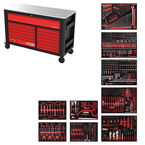 KS Tools 845.9706 PERFORMANCEplus XL-Werkstattwagen P45, bestückt mit 706 Werkzeugen in 9 Einlagen für 7 Schubladen