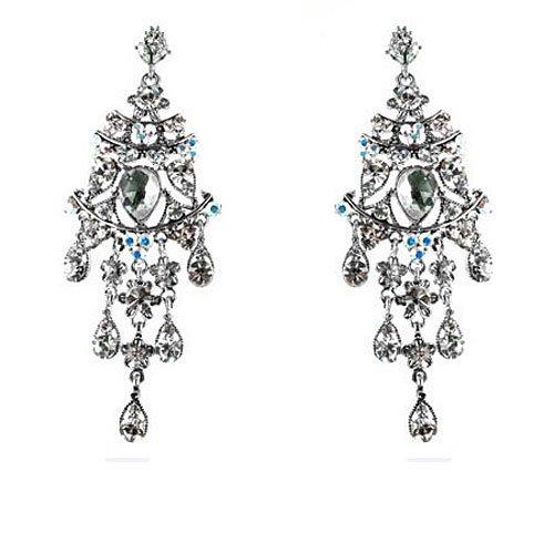 Cristales transparente bañado en plata larga Juego de pendientes de diseño de...