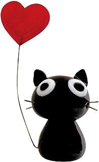 かわいい 猫 手作り ガラス細工 ハート黒ねこ CYK729