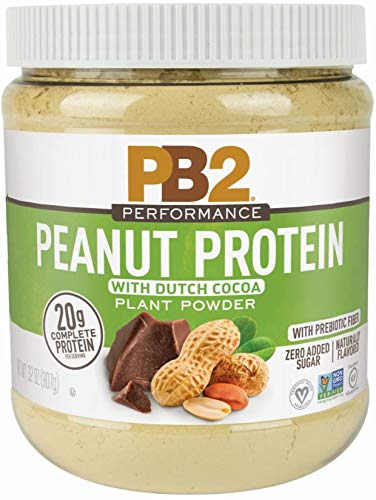 PB2 Performance Peanut Protein Powder with Dutch Cocoa – [2 lb/32 oz Jar] – 20g of Vegan Plant Based Protein Powder, Non GMO, Gluten Free, Non Dairy