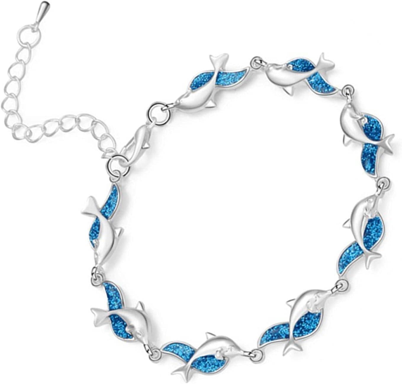 LEFUYAN Dolphin Bracelet Fashion Alloy Cute Animal Dolphin Cuff Bracelet Adjustable for Women Girl