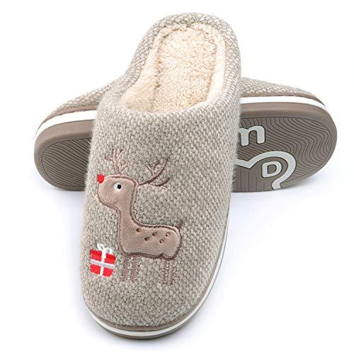 WINZYU Hausschuhe Damen Herren Plüsch Pantoffeln Warm Weich Bequem Rentier Geschenk Schlüpfen Flauschige Gästehausschuhe, Braun 42/43 EU
