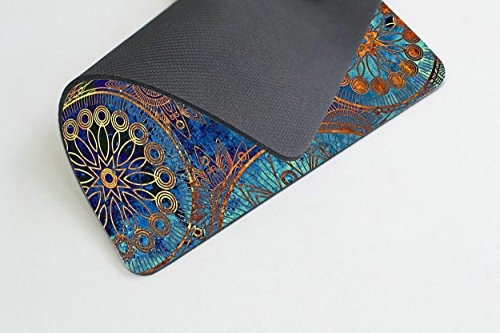 Smooffly Non Slip Mouse Pad for Office, Computer, Laptop & Mac - Durable & Comfortable & Lightweight for Easy Typing-Art Grunge Stylized Damask Pattern with Circles Floral Ornament in Blue Photo #4