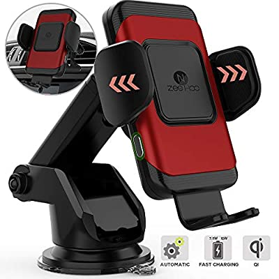 ZeeHoo Wireless Car Charger,10W Qi Fast Charging Auto-Clamping Car Mount,Windshield Dash Air Vent Phone Holder Compatible iPhone 11/11 Pro/11 Pro Max/Xs MAX/XS/XR/X/8/8+,Samsung S10/S10+/S9/S9+/S8/S8+ from ZeeHoo