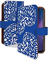 iPhone 12 Pro Max ケース 手帳型 携帯ケース ハート レース ブルー ハート柄 青 おしゃれ アイフォン アイフォーン アイホン プロ マックス スマホケース iPhone12promax iPhone12 12promax 12pro ファッション カメラレンズ全面保護 カード収納付き 全機種対応 t0840-01013