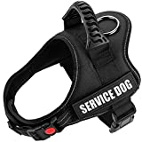 TOMSENN Dog Vest Harness for Service Dogs, Comfortable Padded Dog Training Vest with Reflective Patches and Handle for Medium Dogs (M: Chest 24-32' Neck 20-26', Black)