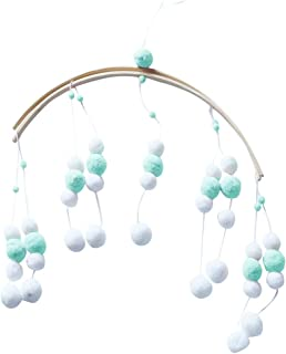 Fan-Ling Wooden Ceiling Mobile Baby Crib Mobile for Boy and Girls Baby Bed Room Decor,Nordic Style Hair Ball Wind Chime Bed Bell Crib with Children's Room Decoration (GREEN)