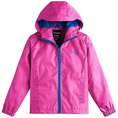 Wantdo Girl's Hooded Lightweight Jacket Raincoat for Traveling Rose Red 14/16