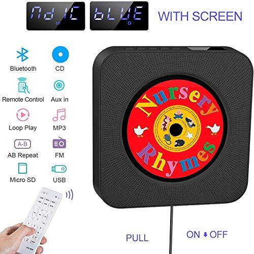 Tragbarer CD Player, eingebauter HiFi Lautsprecher, wandmontierter Bluetooth USB MP3 Musik Player mit Home-Audio-FM-Radio, 3,5-mm-Buchse, Kabelschalter, Geschenk für Kinder, Freunde usw (Black)