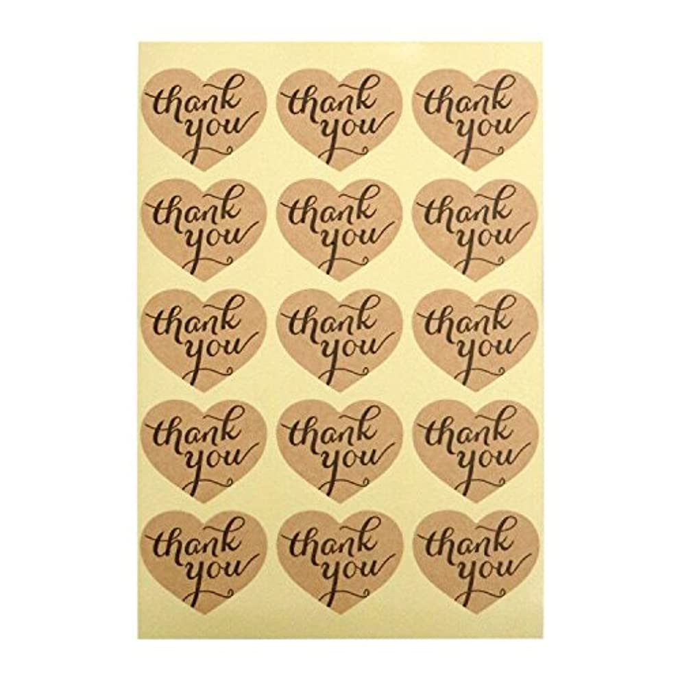 Thank You Stickers, G2PLUS Kraft Paper Thank You Label Stickers for Favors, Hang Tags, Gift Packaging (10 Sheets- Pack of 150 PCS Heart Shape Stickers)