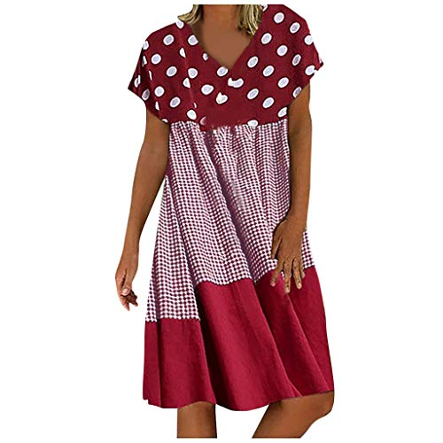 Amandaz Ladies Shirts Ruffle Loose Button up Tunic Tops for Women Dress for Women Summer Plus Size, Newest Women's Loose Plaid Wave Point Patchwork V-Neck Short Sleeves Dress Ladies Holiday Beach Red