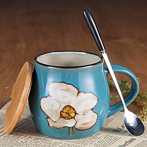 WU-Mug creatieve beker met deksel grote lepel muesli koffie mok retro keramische mokken ontbijt mok water mok thee kopjes