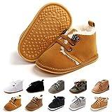 Baby Boys Girls Booties Fleece Anti-Slip Soft Sole Boots Toddler First Walker Warm Shoes Light Brown 13CM