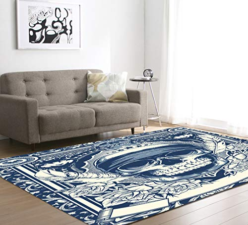 HXSKI Skull Pattern Area Rug,3d Printed Home Décor Carpet,For Bedroom Floor Sofa Living Room Rugs Home Decor Mat-D 121x182cm(48x72inch)