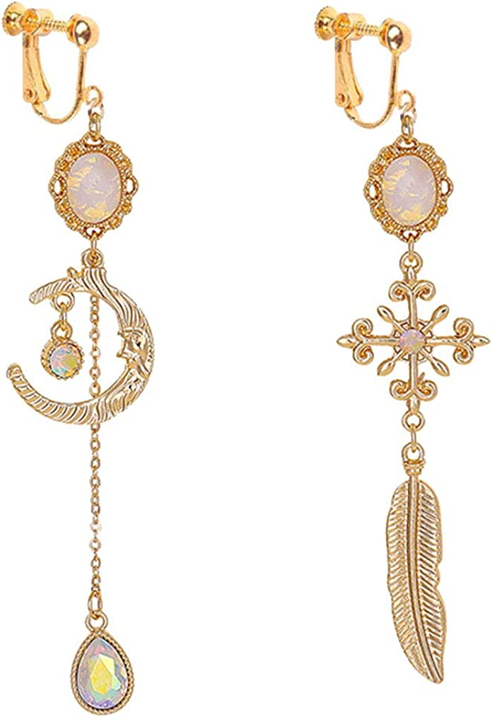 Gold Plated Clip on Earrings Moon and Star Dangle Feather Drop Long Chain Tassel for Girls Women