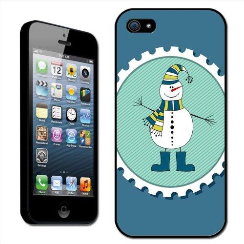 Fancy A Snuggle Clip-on-beschermhoes voor Apple iPhone 5, met motief in postzegelvorm van sneeuwpop met sjaal en muts)
