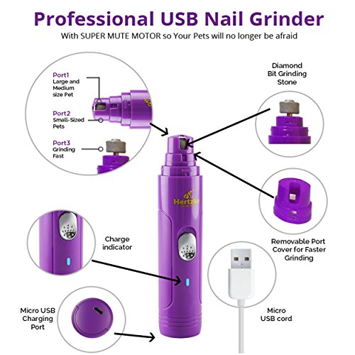 Electric Dog Nail Grinder by Hertzko – Gentle, Painless Paws Grooming,...