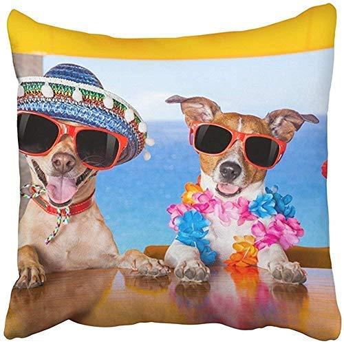 Bru565und - Fundas de almohadas divertidas y a la moda de 18 x 18 pulgadas para cumpleaños, dos perros bebiendo cócteles en el bar en la playa, fiesta con vista al océano, fundas de almohada para el día del padre