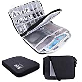 Topbooc Universal Electronics Accessories Organizer, Waterproof Portable Cable Organizer Bag,Travel Gear Carry Bag for Cables (L, Black) (Black, L)