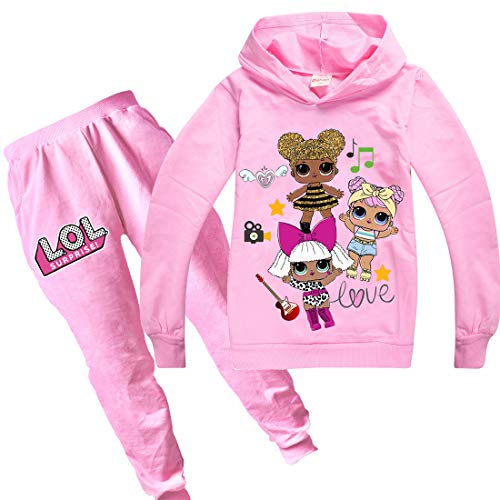 Dgfstm Trainingsanzug mit Kapuze und Hose für Mädchen, Frühling, Herbst, mit niedlichem Puppen-Motiv Gr. 110 cm (3- 4 Jahre), Pink-Set.
