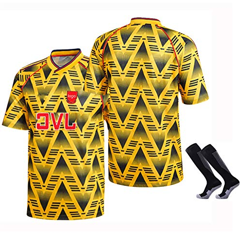 CFJJH Mens Retro Soccer Sportswear Arsenal T-Shirt,Bergkamp 1991/92 Home/Away Commemorate Jersey,Polyester Football Shirt Sleeves Sportswear Tops Sweatwear Yellow-M