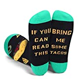 Funny Socks for Men and Women - If You Can Read This Bring Me TACOS Novelty Crew Socks - Mens Boys Teens Crazy Colorful Funky Cotton Socks Christmas Gift-Green