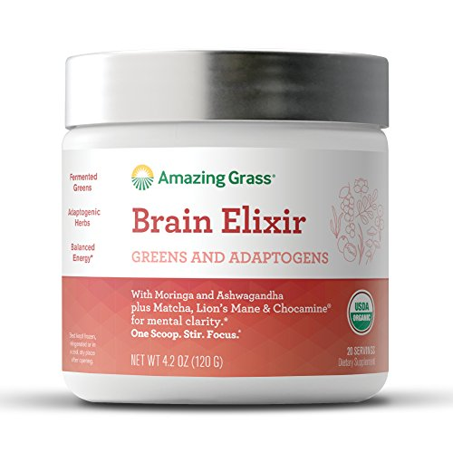 Organic Brain Elixir, by Amazing Grass, with Fermented Greens & Herb Adaptogens, Morniga, Reishi, Ashwagandha mushrooms, 20 Servings Tub
