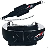ARD Heavy Duty Leather weight lifting Dipping belt with chain BLACK New