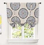 DriftAway Emma Raffvorhang, mit Medaillon-Muster, gefüttert, wärmeisoliert, energiesparend, Verdunkelung, verstellbarer Ballonvorhang, Lampenschirm für kleine Fenster, 114,4 x 160,6 cm, Beige / Grau