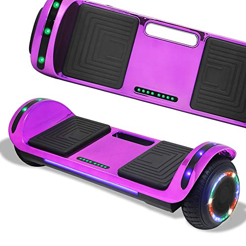 Hoverboard, Hover Board Electric Scooter Two-Wheel Smart Self Balancing with Speakers (Chrome Purple)