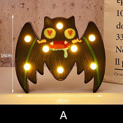 Pumpkin lantern Lanterne Citrouille d'halloween Lumière LED veilleuse de sécurité 3V for extérieur Maison Terrasse Jardin Décoration 1 Piece (Color : Bat C)