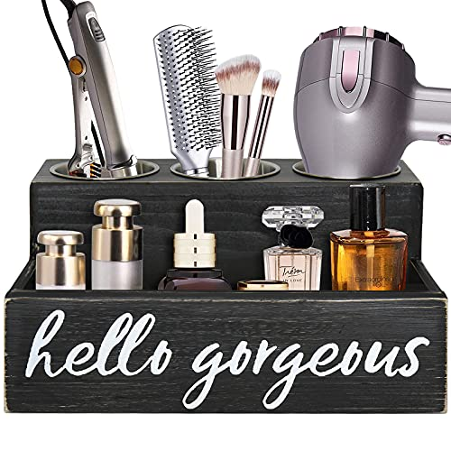 Bathroom Hair Tool Organizer Countertop, Black Hair Dryer Holder Blow Dryer Holder, Hair Tools and Styling Organizer, Bathroom Countertop Storage Stand and Vanity Tray for Curling Iron, Makeup