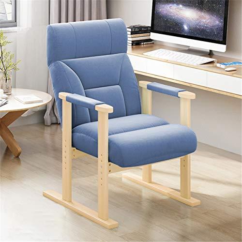 OMGPFR Silla ergonómica del sofá, Madera Maciza Reclinar Sillas de Oficina Lazy Gaming Cómodo Antideslizante Lavable Altura Trasera Ajustable para Dormitorio Sala Conveniente Azul,Azul