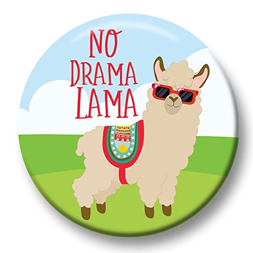 Polarkind button pin carnaval aansteker No Drama Lama Cool Alpaca 38 mm Handgemaakt