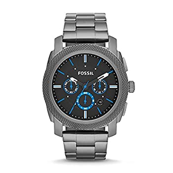 Fossil Men s Machine Quartz Stainless Steel and Stainless Steel Chronograph Watch Color  Smoke  Model  FS4931