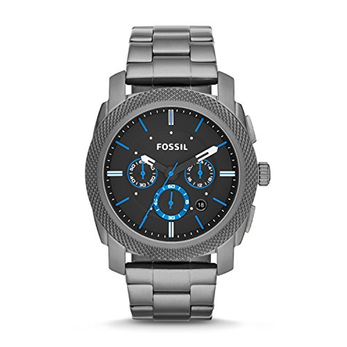Fossil Men's Machine Chrono Quartz Stainless Chronograph Watch, Color: Smoke, Blue Dial (Model: FS4931)