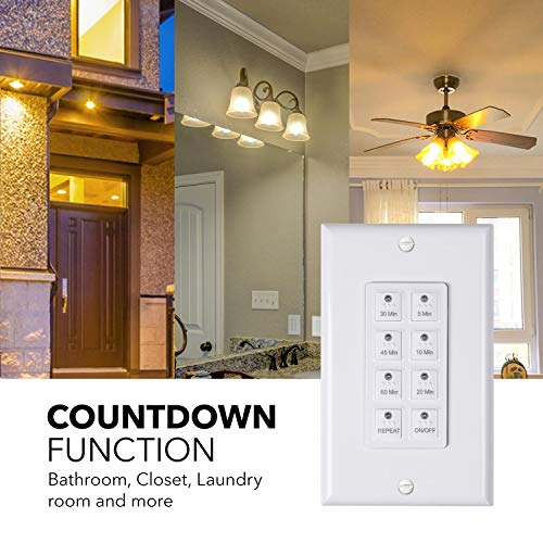 BN-LINK Countdown Digital in-Wall Timer Switch 5-10-20-30-45-60mins, for Bathroom Fan,in-Wall Light Timer, Neutral Required, Free Plate, White