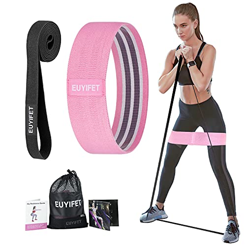 EUYIFET Fabric Resistance Bands Long for Working Out, Body and Booty Exercise Bands for Women Butt and Legs, Elastic Fitness Resistance Bands Long and Short Loop Set, Pull Up Workout Bands for Yoga