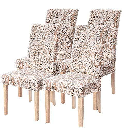 SearchI - Coprisedia universale per sala da pranzo, 4/6 pezzi, elastico, estensibile, per decorazione sedia, per matrimonio, cerimonia, marrone, 4 pezzi