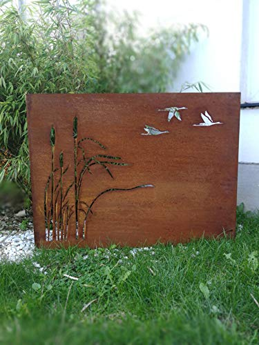 Zen Man Edelrost Garten Sichtschutzwand Rost Sichtschutz aus Stahlblech Rost Gartenzubehör L100*H75cm 1mm