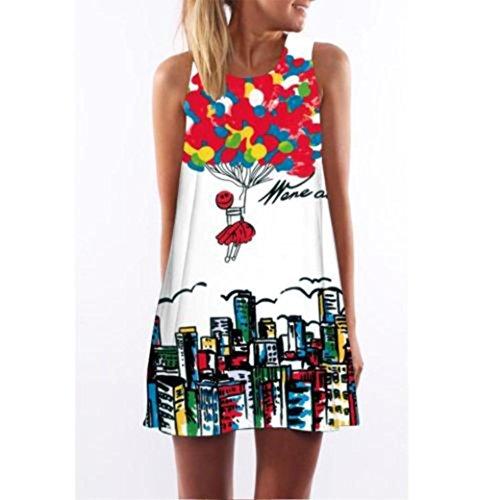 Kimloog S~XL Vintage O-Neck Boho Women Summer Sleeveless Beach Printed Short Mini Dress (L)