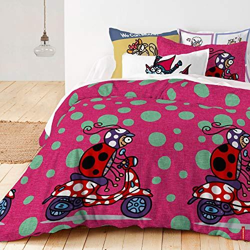 Kukuxumusu - Funda de edredón Marymoto 100% algodón, 240 x 220 cm, Multicolor