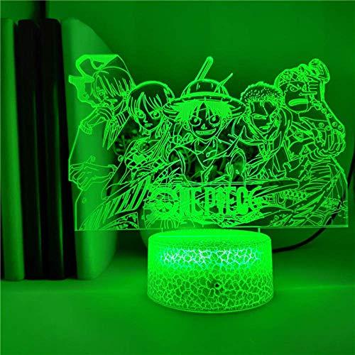 3D-Illusionslampe LED-Nachtlicht-App-Steuerung Anime One Piece Strohhut Pirate Team Tischlampe Bunte Touch Desk Lampe Dekoration Das Geschenk für Kinder