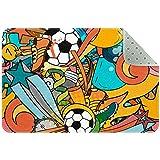 Bennigiry Colorido deporte pelota de fútbol patrón alfombra alfombra alfombra para sala de estar, dormitorio, sala de juegos, 31 x 20 pulgadas