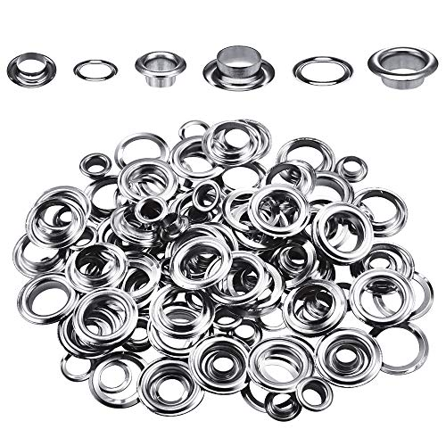 Wpxmer 200 Sets 1/2 and 1/4 Inch Grommets Eyelets for Clothes, Leather, Canvas and DIY Craft Washer Self Backing